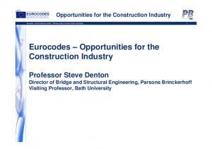 Eurocodes Opportunities for the Construction Industry