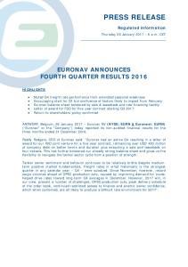 EURONAV ANNOUNCES FOURTH QUARTER RESULTS 2016