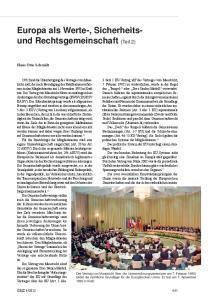 Europa als Werte-, Sicherheitsund Rechtsgemeinschaft (Teil 2)