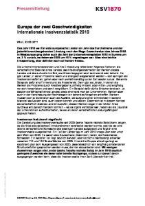 Europa der zwei Geschwindigkeiten Internationale Insolvenzstatistik 2010