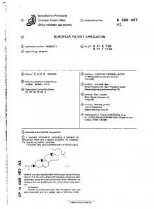 Europaisches Patentamt European Patent Office Office europeen des brevets. Publ ication number: A2 EUROPEAN PATENT APPLICATION