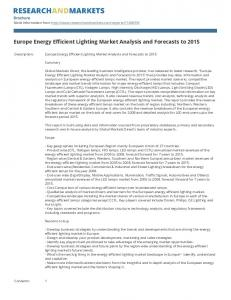 Europe Energy Efficient Lighting Market Analysis and Forecasts to 2015