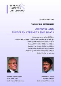 EUROPEAN CERAMICS and GLASS
