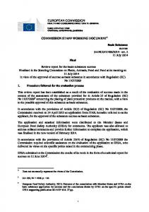 EUROPEAN COMMISSION HEALTH AND CONSUMERS DIRECTORATE-GENERAL COMMISSION STAFF WORKING DOCUMENT 1. Final