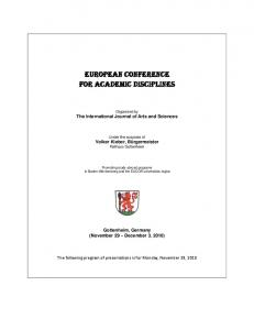 EUROPEAN CONFERENCE FOR ACADEMIC DISCIPLINES