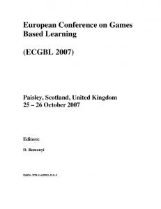 European Conference on Games Based Learning