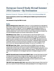 European Council Study Abroad Summer 2016 Courses By Destination