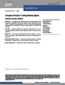 European Directors Trading Weekly Update