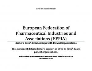 European Federation of Pharmaceutical Industries and Associations (EFPIA)