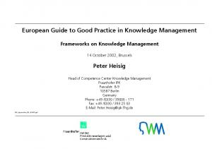 European Guide to Good Practice in Knowledge Management