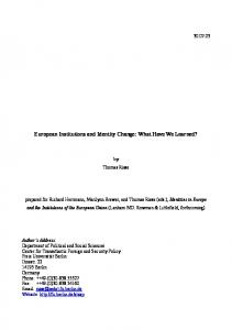 European Institutions and Identity Change: What Have We Learned?