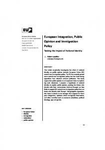 European Integration, Public Opinion and Immigration Policy