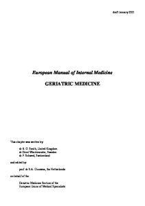 European Manual of Internal Medicine GERIATRIC MEDICINE
