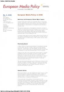 European Media Policy in 2006