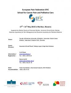 European Pain Federation EFIC School for Cancer Pain and Palliative Care