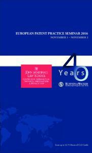 EUROPEAN PATENT PRACTICE SEMINAR 2016
