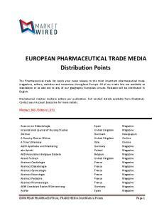 EUROPEAN PHARMACEUTICAL TRADE MEDIA Distribution Points