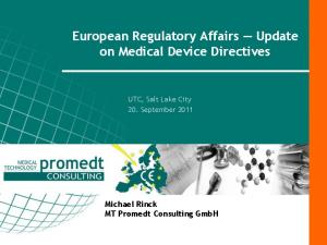 European Regulatory Affairs Update on Medical Device Directives
