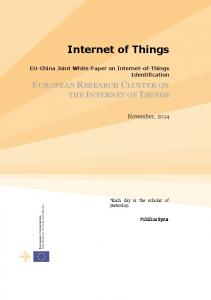EUROPEAN RESEARCH CLUSTER ON THE INTERNET OF THINGS