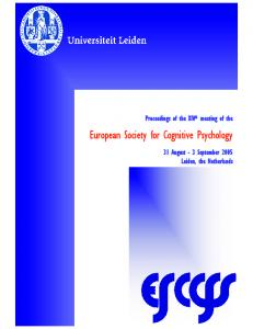 European Society for Cognitive Psychology