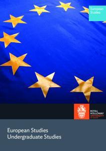 European Studies Undergraduate Studies. European Studies