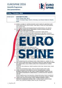 EUROSPINE Scientific Programme Oral presentations. Friday, 7 October 2016