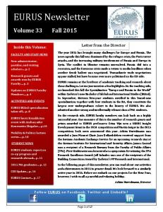 EURUS Newsletter. Volume 33 Fall Letter from the Director. Inside this Volume: Follow EURUS on Facebook, Twitter and LinkedIn!