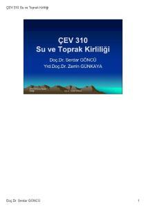 ÇEV 310 Su ve Toprak Kirliliği