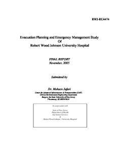 Evacuation Planning and Emergency Management Study Of Robert Wood Johnson University Hospital