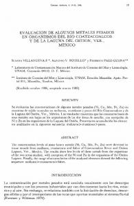 EVALUACION DE ALGUNOS METALES PESADOS EN ORGANISMOS DEL RIO COATZACOALCOS Y DE LA LAGUNA DEL OSTION, VER., MEXICO