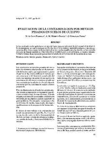EVALUACION DE LA CONTAMINACION POR METALES PESADOS EN SUELOS DE CULTIVO