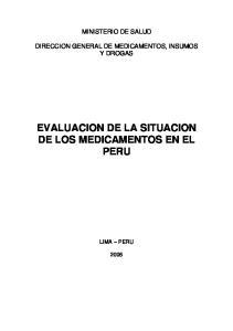 EVALUACION DE LA SITUACION DE LOS MEDICAMENTOS EN EL PERU