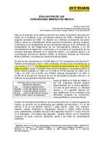 EVALUACION DE LAS CONCESIONES MINERAS EN MEXICO
