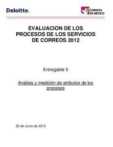 EVALUACION DE LOS PROCESOS DE LOS SERVICIOS DE CORREOS 2012