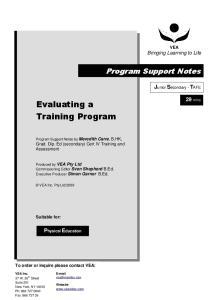 Evaluating a Training Program