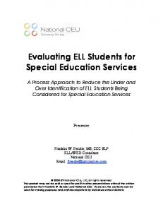 Evaluating ELL Students for Special Education Services