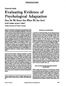 Evaluating Evidence of Psychological Adaptation How Do We Know One When We See One?