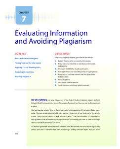 Evaluating Information and Avoiding Plagiarism