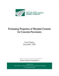 Evaluating Properties of Blended Cements for Concrete Pavements