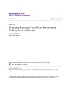 Evaluating Resources Available to Transitioning Military Service Members