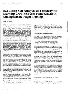 Evaluating Self-Analysis as a Strategy for Leaming Crew Resource Management in Undergraduate Flight Training