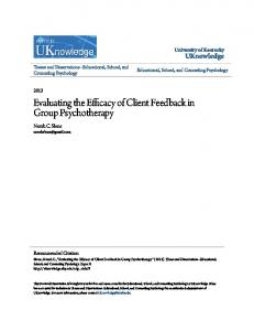 Evaluating the Efficacy of Client Feedback in Group Psychotherapy
