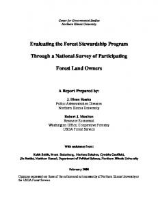 Evaluating the Forest Stewardship Program. Through a National Survey of Participating. Forest Land Owners