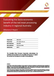 Evaluating the Socio-economic benefit of the red meat processing industry in regional Australia: