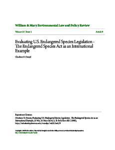 Evaluating U.S. Endangered Species Legislation - The Endangered Species Act as an International Example