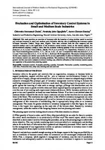 Evaluation and Optimization of Inventory Control Systems in Small and Medium Scale Industries