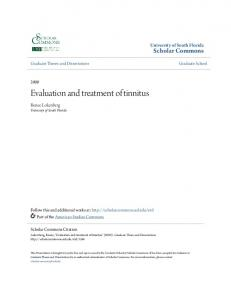 Evaluation and treatment of tinnitus