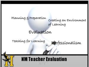 Evaluation. NM Teacher Evaluation