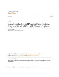 Evaluation of 2,4-D and Dicamba Based Herbicide Programs For Weed Control In Tolerant Soybean