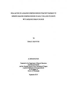 EVALUATION OF A READING COMPREHENSION STRATEGY PACKAGE TO IMPROVE READING COMPREHENSION OF ADULT COLLEGE STUDENTS WITH ACQUIRED BRAIN INJURIES
